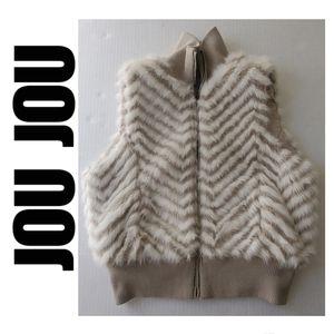 Jou Jou Faux Fur Sleeveless Vest Tan and Cream L